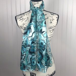 Blue and Green Toned /Black Shiny Floral Scarf